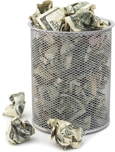 trashcan full of money